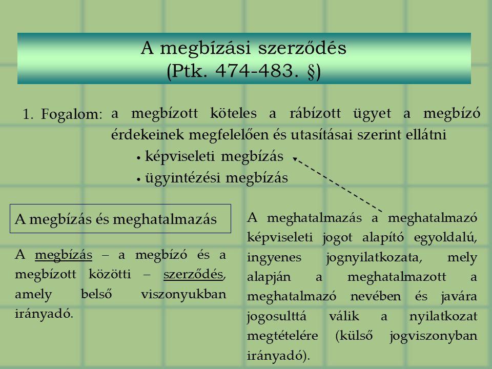 A megbízási szerződés (Ptk. 474-483.