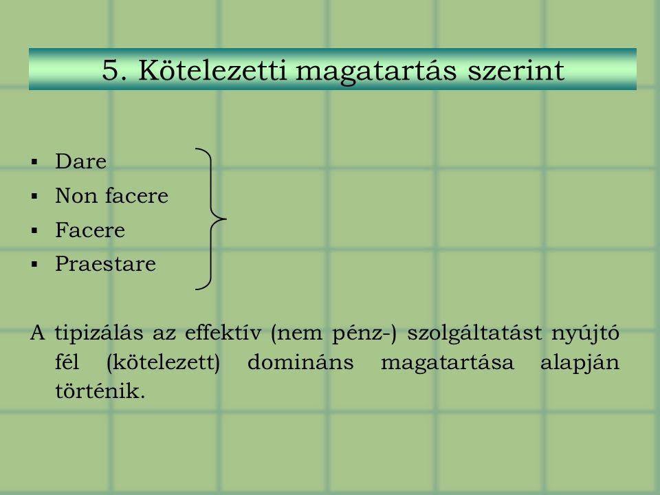  Dare  Non facere  Facere  Praestare A tipizálás az effektív (nem pénz-) szolgáltatást nyújtó fél (kötelezett) domináns magatartása alapján történik.