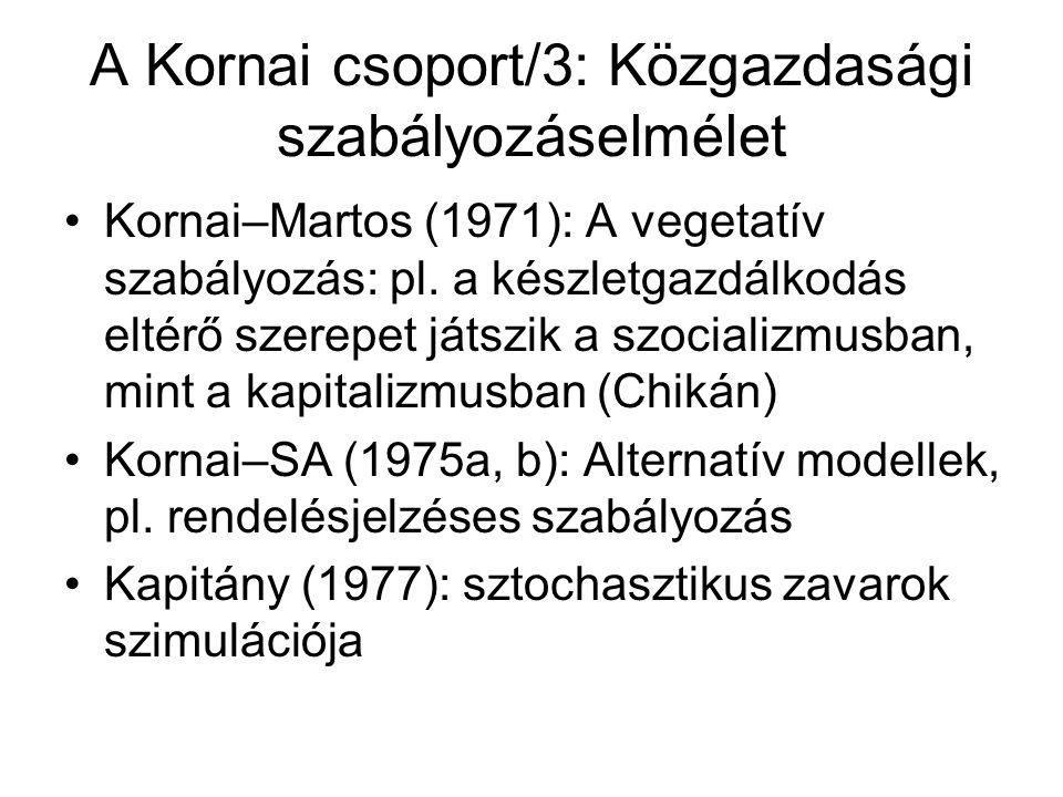 A Kornai csoport/3: Közgazdasági szabályozáselmélet Kornai–Martos (1971): A vegetatív szabályozás: pl.