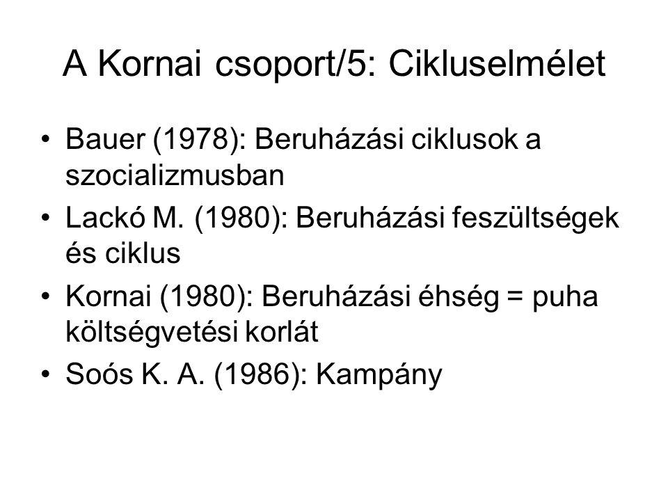 A Kornai csoport/5: Cikluselmélet Bauer (1978): Beruházási ciklusok a szocializmusban Lackó M.