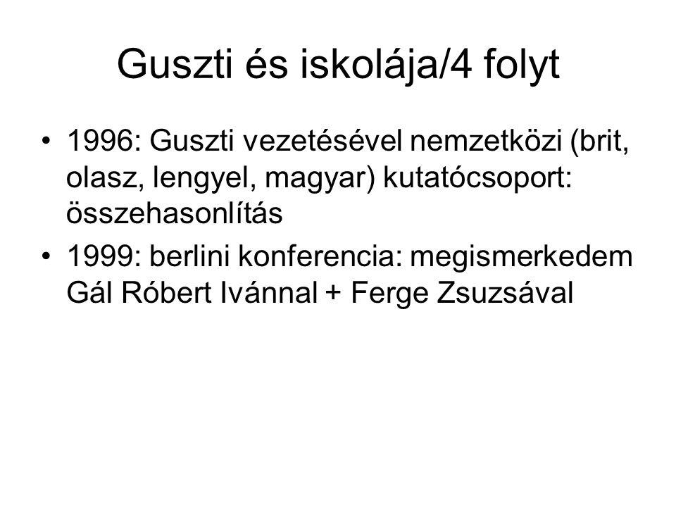 Guszti és iskolája/4 folyt 1996: Guszti vezetésével nemzetközi (brit, olasz, lengyel, magyar) kutatócsoport: összehasonlítás 1999: berlini konferencia: megismerkedem Gál Róbert Ivánnal + Ferge Zsuzsával