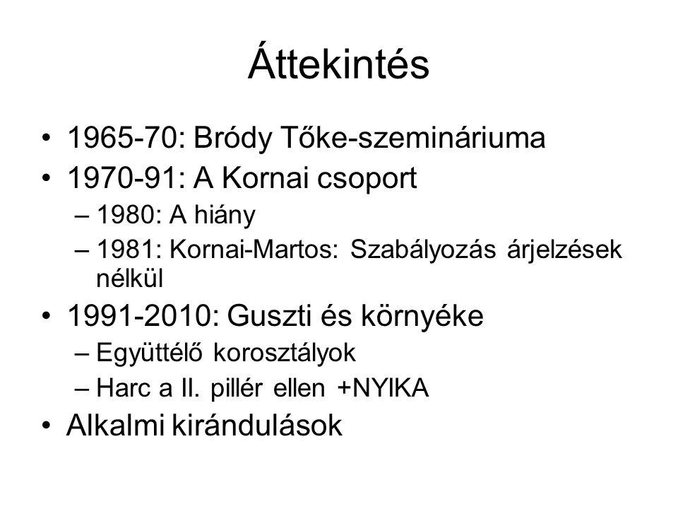 Áttekintés 1965-70: Bródy Tőke-szemináriuma 1970-91: A Kornai csoport –1980: A hiány –1981: Kornai-Martos: Szabályozás árjelzések nélkül 1991-2010: Guszti és környéke –Együttélő korosztályok –Harc a II.