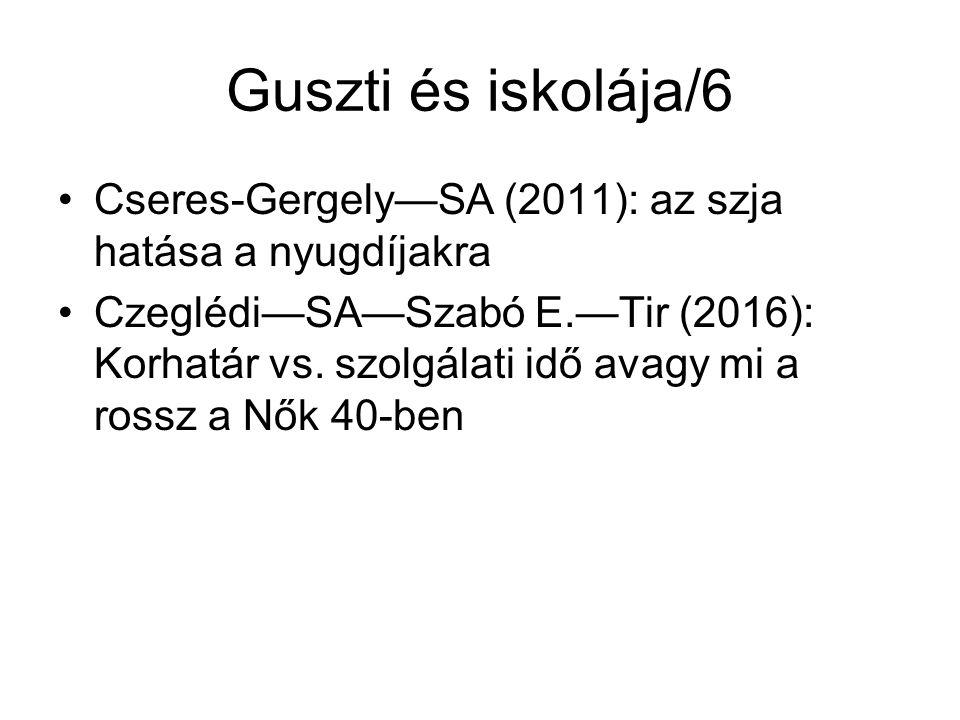 Guszti és iskolája/6 Cseres-Gergely—SA (2011): az szja hatása a nyugdíjakra Czeglédi—SA—Szabó E.—Tir (2016): Korhatár vs.