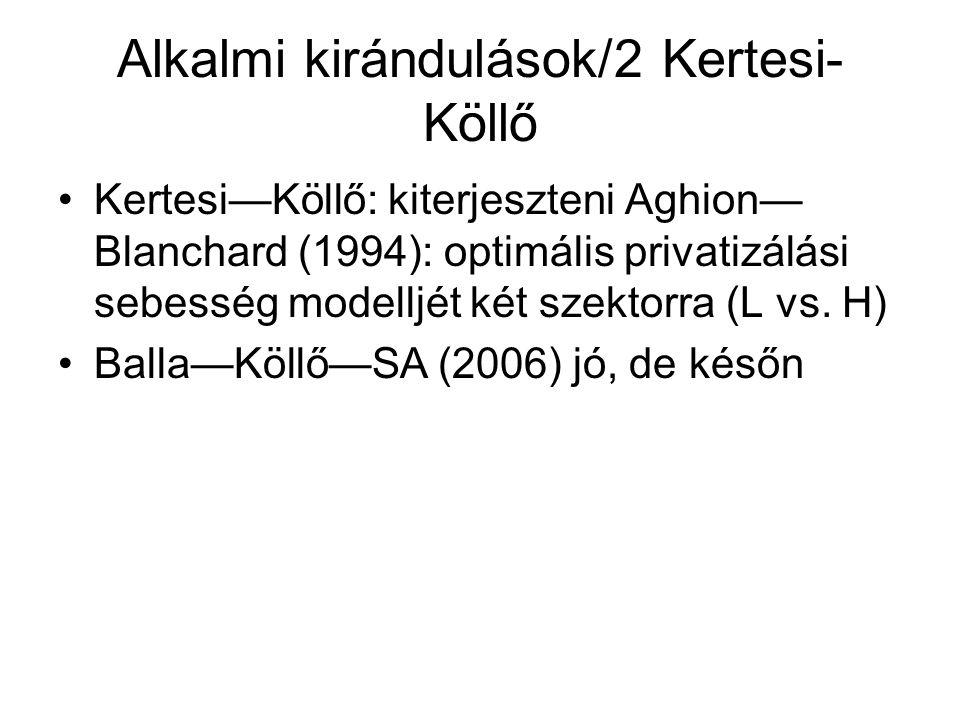 Alkalmi kirándulások/2 Kertesi- Köllő Kertesi—Köllő: kiterjeszteni Aghion— Blanchard (1994): optimális privatizálási sebesség modelljét két szektorra (L vs.