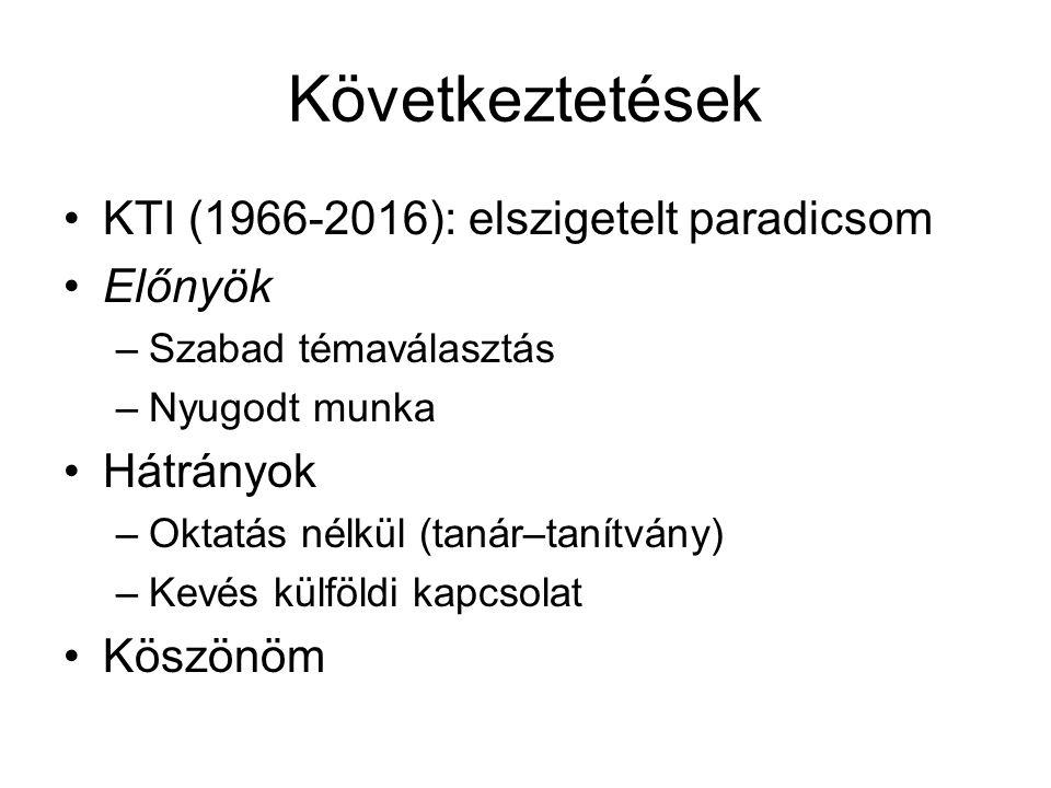 Következtetések KTI (1966-2016): elszigetelt paradicsom Előnyök –Szabad témaválasztás –Nyugodt munka Hátrányok –Oktatás nélkül (tanár–tanítvány) –Kevés külföldi kapcsolat Köszönöm