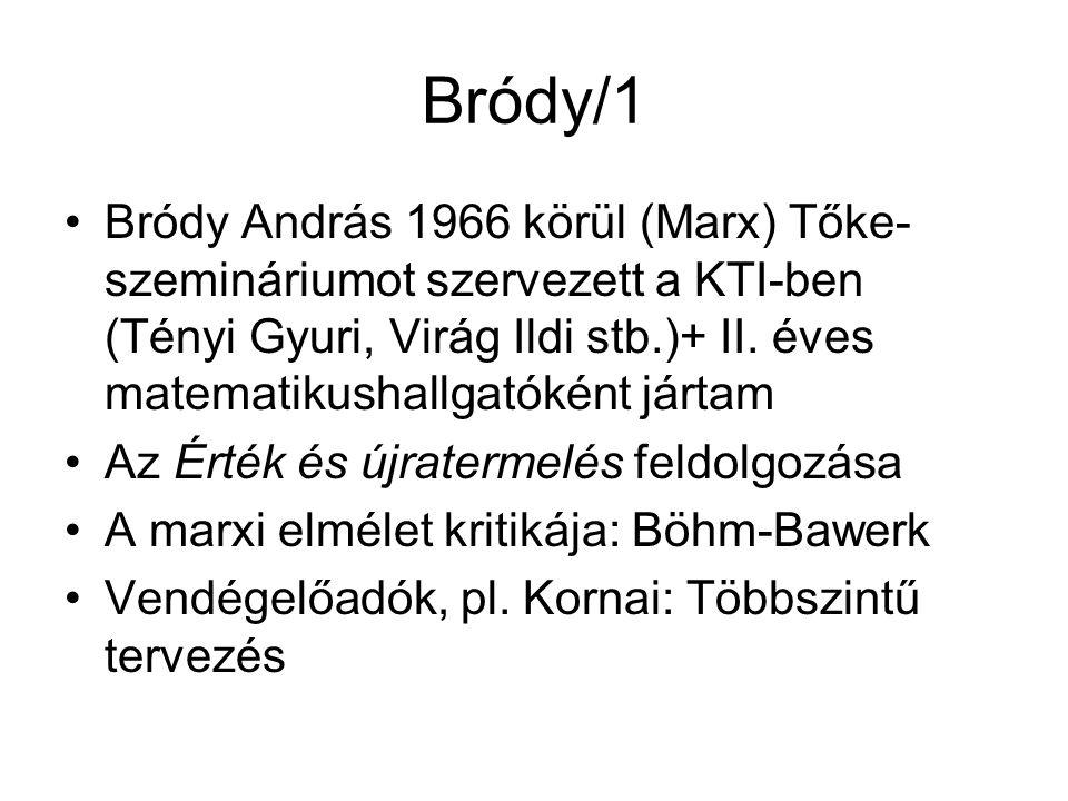 Bródy/1 Bródy András 1966 körül (Marx) Tőke- szemináriumot szervezett a KTI-ben (Tényi Gyuri, Virág Ildi stb.)+ II.