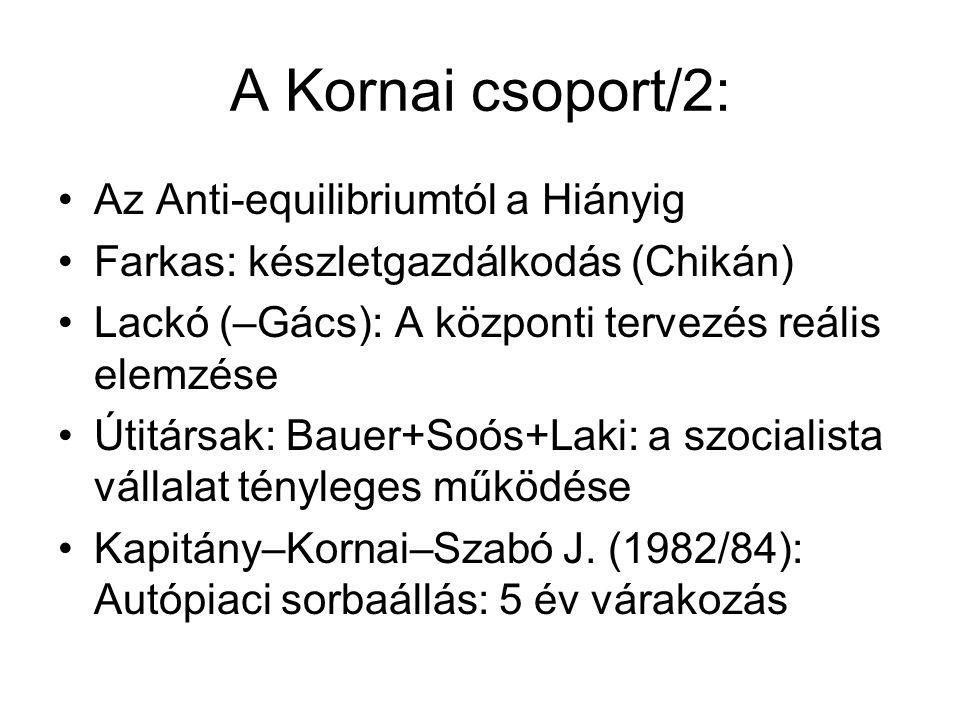 A Kornai csoport/2: Az Anti-equilibriumtól a Hiányig Farkas: készletgazdálkodás (Chikán) Lackó (–Gács): A központi tervezés reális elemzése Útitársak: Bauer+Soós+Laki: a szocialista vállalat tényleges működése Kapitány–Kornai–Szabó J.