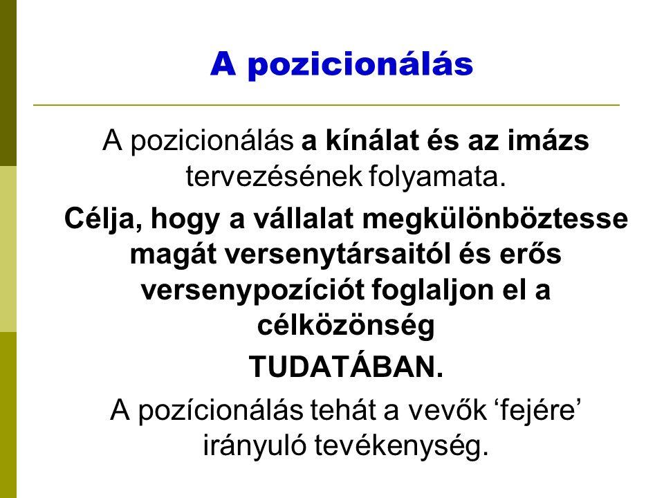 A pozicionálás A pozicionálás a kínálat és az imázs tervezésének folyamata.