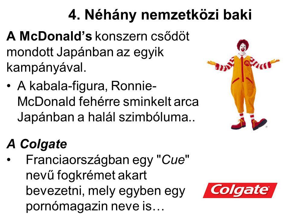 4. Néhány nemzetközi baki A McDonald's konszern csődöt mondott Japánban az egyik kampányával.