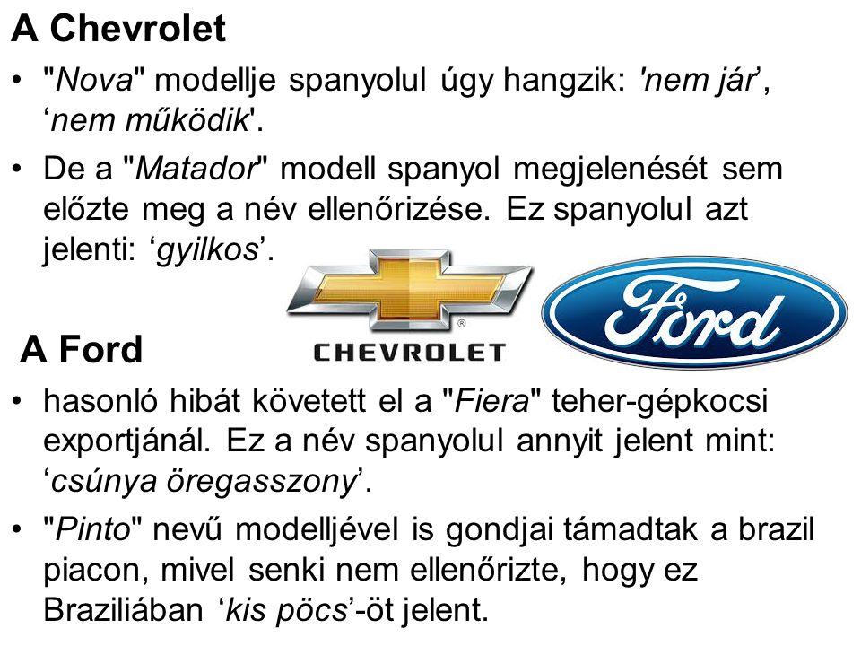 A Chevrolet Nova modellje spanyolul úgy hangzik: nem jár', 'nem működik .