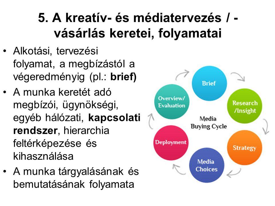 5. A kreatív- és médiatervezés / - vásárlás keretei, folyamatai Alkotási, tervezési folyamat, a megbízástól a végeredményig (pl.: brief) A munka keret