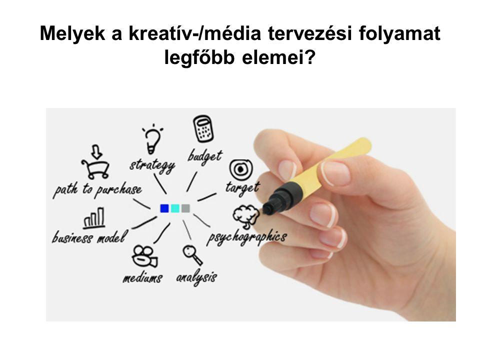 Melyek a kreatív-/média tervezési folyamat legfőbb elemei?