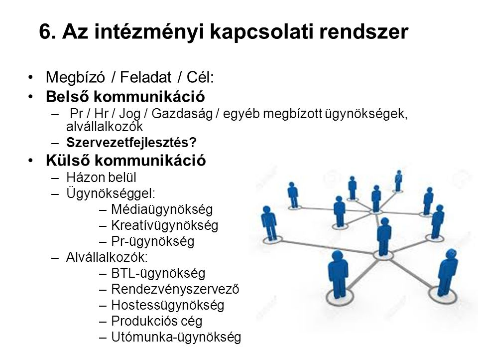 6. Az intézményi kapcsolati rendszer Megbízó / Feladat / Cél: Belső kommunikáció – Pr / Hr / Jog / Gazdaság / egyéb megbízott ügynökségek, alvállalkoz