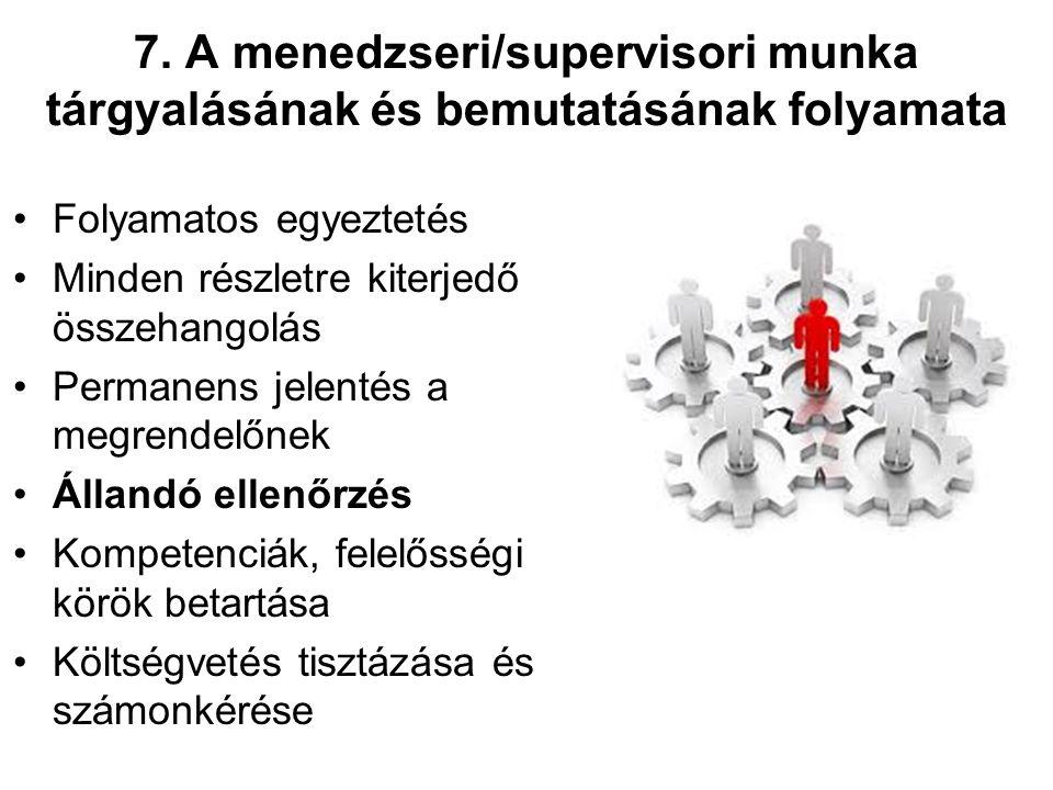 7. A menedzseri/supervisori munka tárgyalásának és bemutatásának folyamata Folyamatos egyeztetés Minden részletre kiterjedő összehangolás Permanens je