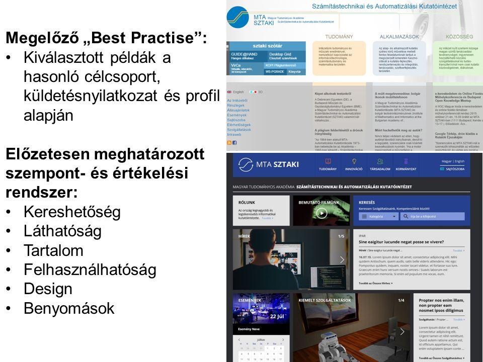 """Megelőző """"Best Practise : Kiválasztott példák a hasonló célcsoport, küldetésnyilatkozat és profil alapján Előzetesen meghatározott szempont- és értékelési rendszer: Kereshetőség Láthatóság Tartalom Felhasználhatóság Design Benyomások"""
