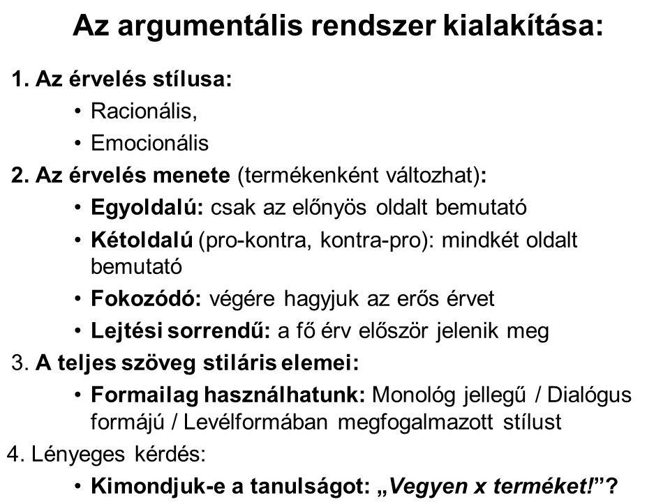 Az argumentális rendszer kialakítása: 1. Az érvelés stílusa: Racionális, Emocionális 2.