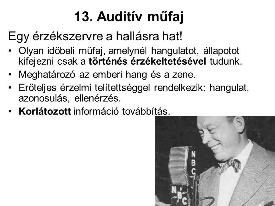 13. Auditív műfaj Egy érzékszervre a hallásra hat.