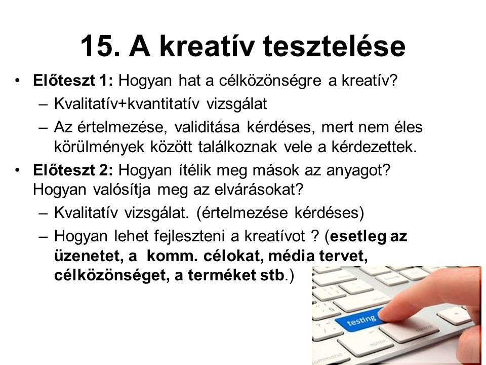15. A kreatív tesztelése Előteszt 1: Hogyan hat a célközönségre a kreatív.