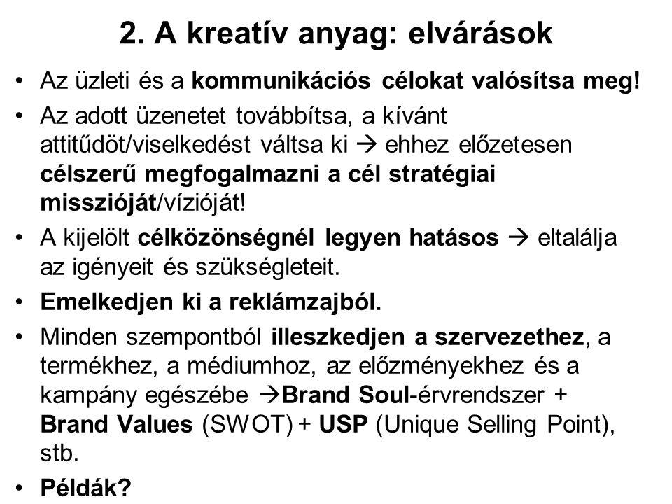 2. A kreatív anyag: elvárások Az üzleti és a kommunikációs célokat valósítsa meg.