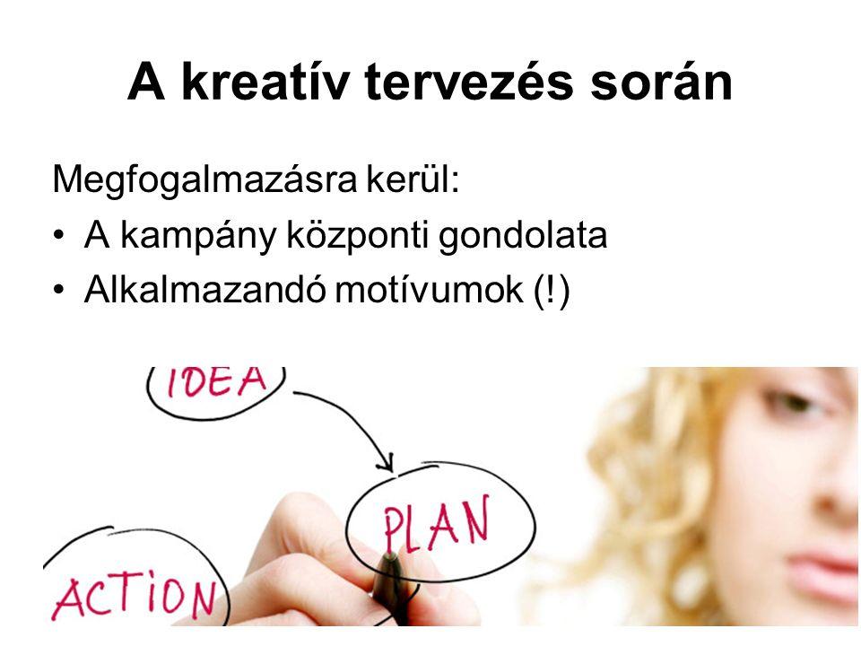 A kreatív tervezés során Megfogalmazásra kerül: A kampány központi gondolata Alkalmazandó motívumok (!)