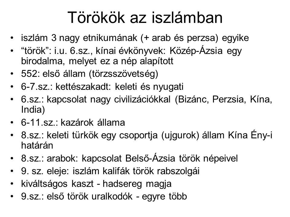 Törökök az iszlámban iszlám 3 nagy etnikumának (+ arab és perzsa) egyike török : i.u.