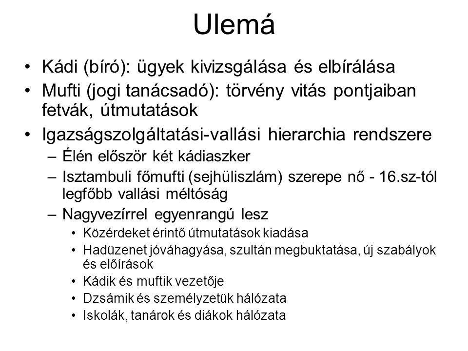 Ulemá Kádi (bíró): ügyek kivizsgálása és elbírálása Mufti (jogi tanácsadó): törvény vitás pontjaiban fetvák, útmutatások Igazságszolgáltatási-vallási hierarchia rendszere –Élén először két kádiaszker –Isztambuli főmufti (sejhüliszlám) szerepe nő - 16.sz-tól legfőbb vallási méltóság –Nagyvezírrel egyenrangú lesz Közérdeket érintő útmutatások kiadása Hadüzenet jóváhagyása, szultán megbuktatása, új szabályok és előírások Kádik és muftik vezetője Dzsámik és személyzetük hálózata Iskolák, tanárok és diákok hálózata
