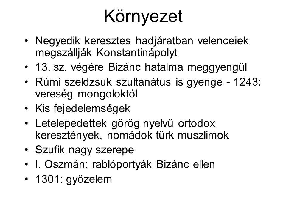 Szufi rendek Bektasi: közép-ázsiai források, keresztény elemek –Hadzsi Bektas, 1200-as évek –Egész birodalom –1826-ban feloszlik (fővárosban 14 kolostor) –Népi és radikális jelleg –Ulemá gyanakvása –15-16.