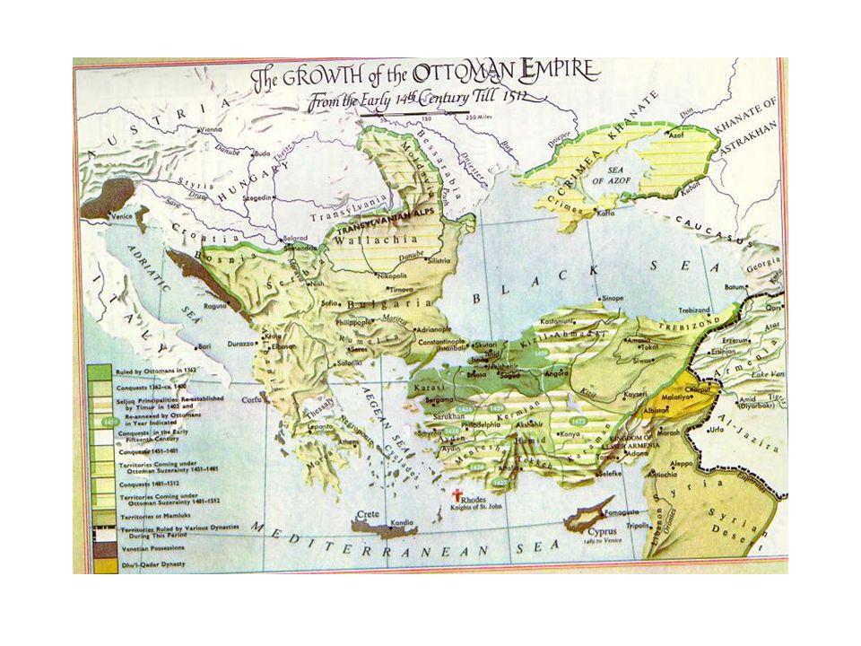 Megtorpanás Timurlenk fenyegetése –Török és muszlim –Felesége Dzsingisz kán családjából –1394-ben Kisázsia ellen - török szultánt nem támadja –1399-ben ismét: világhódító, rivális –anatóliai török emirek támogatása 1402 Ankara mellett szultán veresége - fogság, öngyilkosság Megszerzett anatóliai területek elvesztése