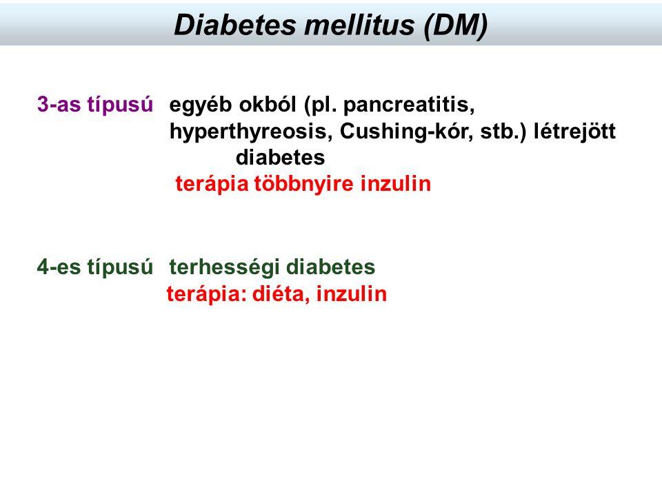 4-es típusú terhességi diabetes terápia: diéta, inzulin 3-as típusú egyéb okból (pl. pancreatitis, hyperthyreosis, Cushing-kór, stb.) létrejött diabet