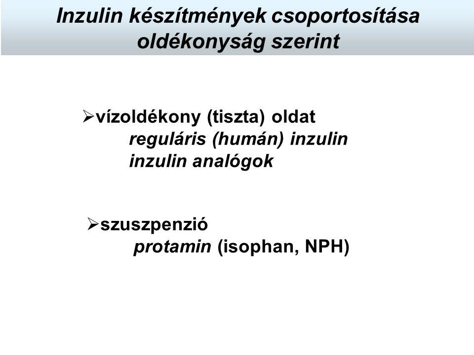 szuszpenzió protamin (isophan, NPH)  vízoldékony (tiszta) oldat reguláris (humán) inzulin inzulin analógok Inzulin készítmények csoportosítása oldé