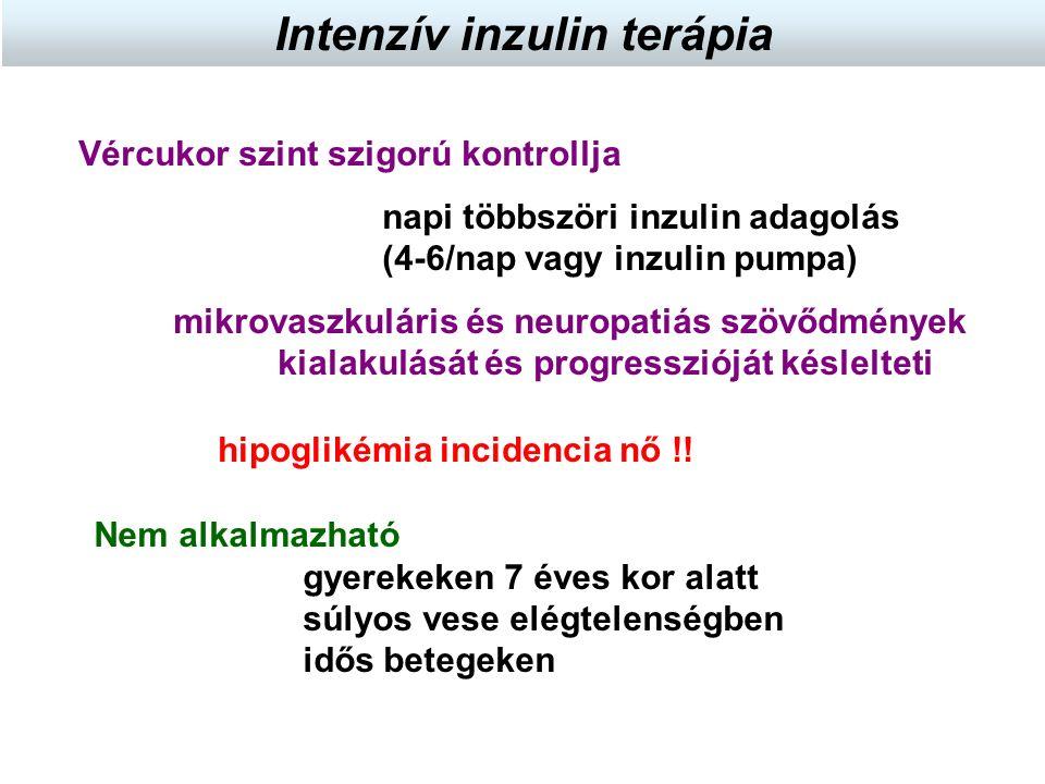 Vércukor szint szigorú kontrollja napi többszöri inzulin adagolás (4-6/nap vagy inzulin pumpa) mikrovaszkuláris és neuropatiás szövődmények kialakulás