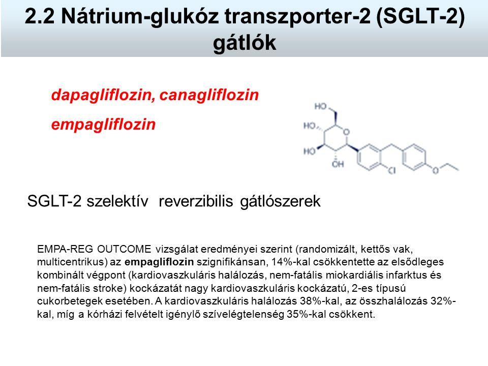 dapagliflozin, canagliflozin empagliflozin SGLT-2 szelektív reverzibilis gátlószerek 2.2 Nátrium-glukóz transzporter-2 (SGLT-2) gátlók EMPA-REG OUTCOM