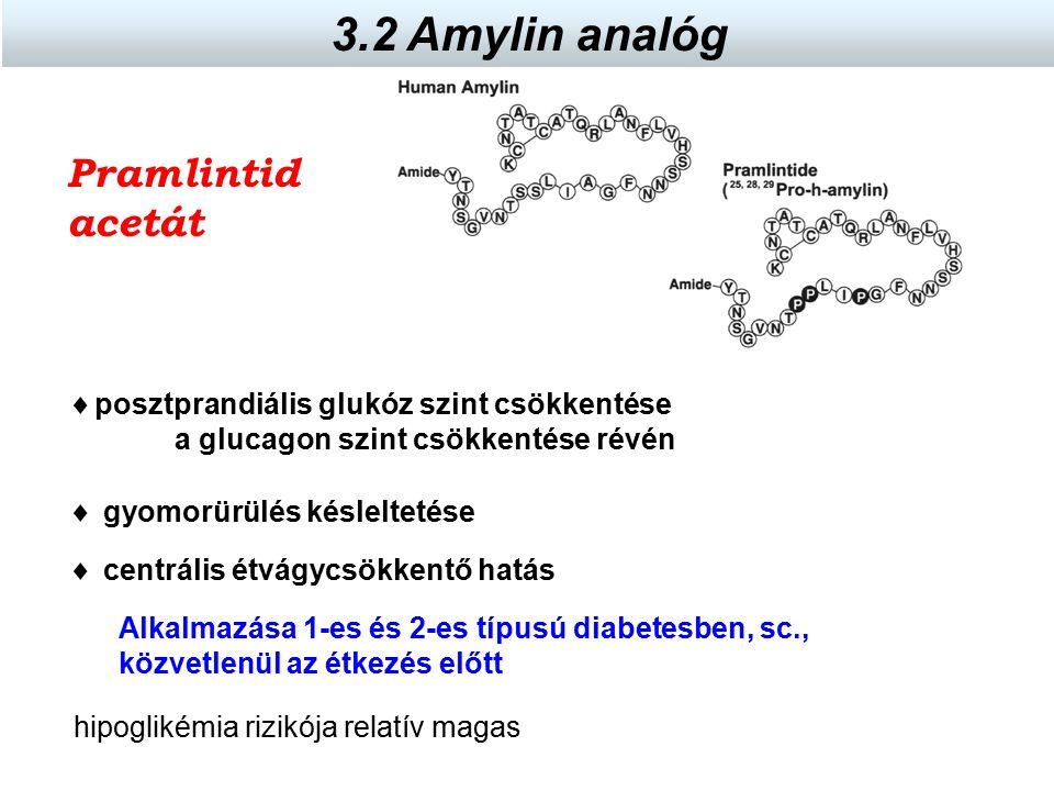 Pramlintid acetát Alkalmazása 1-es és 2-es típusú diabetesben, sc., közvetlenül az étkezés előtt  posztprandiális glukóz szint csökkentése a glucagon