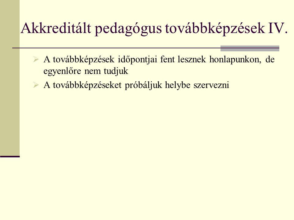 Akkreditált pedagógus továbbképzések IV.