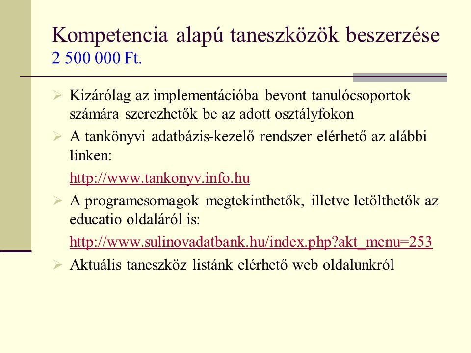 Kompetencia alapú taneszközök beszerzése 2 500 000 Ft.
