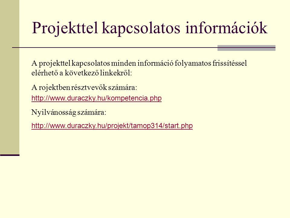 Projekttel kapcsolatos információk A projekttel kapcsolatos minden információ folyamatos frissítéssel elérhető a következő linkekről: A rojektben résztvevők számára: http://www.duraczky.hu/kompetencia.php Nyilvánosság számára: http://www.duraczky.hu/projekt/tamop314/start.php