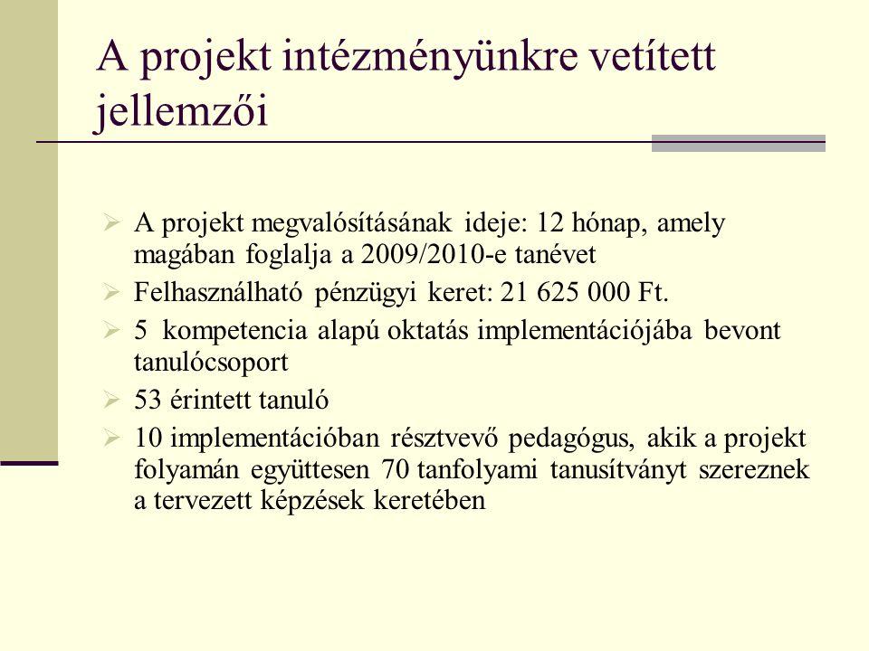 A projekt intézményünkre vetített jellemzői  A projekt megvalósításának ideje: 12 hónap, amely magában foglalja a 2009/2010-e tanévet  Felhasználható pénzügyi keret: 21 625 000 Ft.