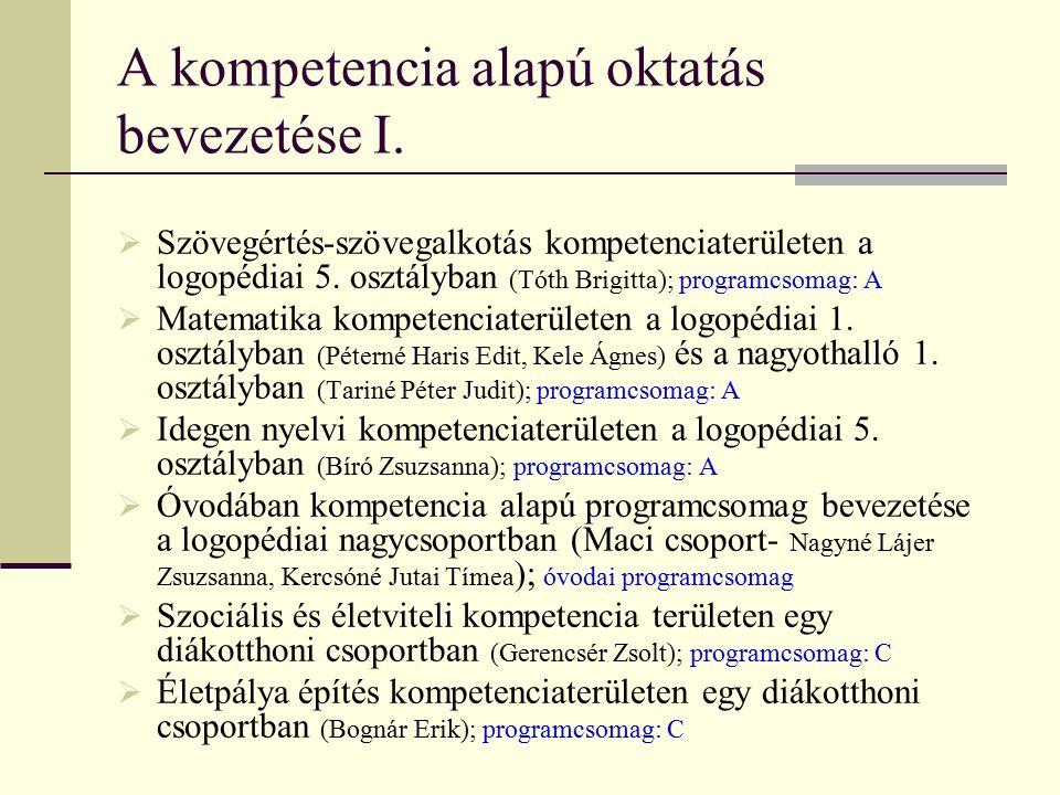 A kompetencia alapú oktatás bevezetése I.