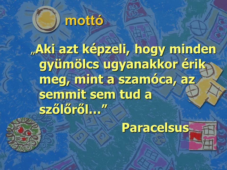 """mottó """" Aki azt képzeli, hogy minden gyümölcs ugyanakkor érik meg, mint a szamóca, az semmit sem tud a szőlőről… Paracelsus"""