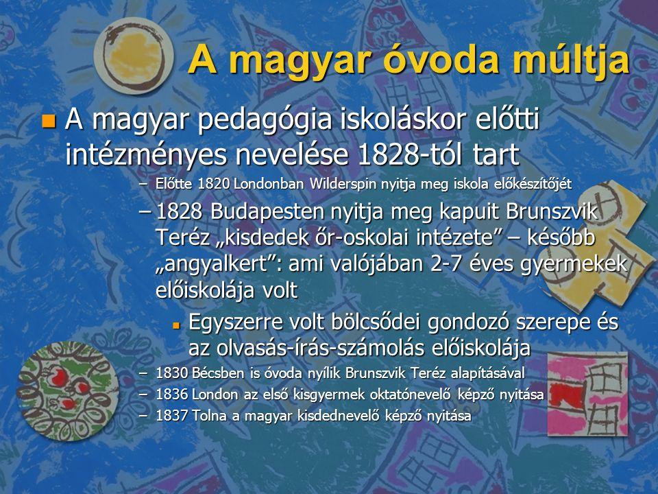 """A magyar óvoda múltja n A magyar pedagógia iskoláskor előtti intézményes nevelése 1828-tól tart –Előtte 1820 Londonban Wilderspin nyitja meg iskola előkészítőjét –1828 Budapesten nyitja meg kapuit Brunszvik Teréz """"kisdedek őr-oskolai intézete – később """"angyalkert : ami valójában 2-7 éves gyermekek előiskolája volt n Egyszerre volt bölcsődei gondozó szerepe és az olvasás-írás-számolás előiskolája –1830 Bécsben is óvoda nyílik Brunszvik Teréz alapításával –1836 London az első kisgyermek oktatónevelő képző nyitása –1837 Tolna a magyar kisdednevelő képző nyitása"""