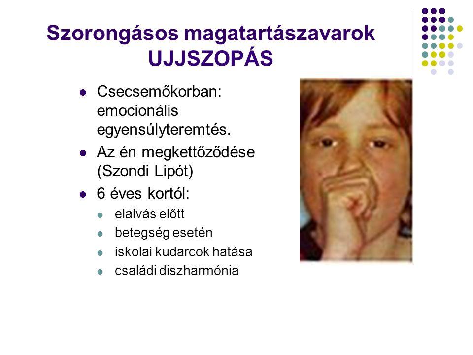 Szorongásos magatartászavarok UJJSZOPÁS Csecsemőkorban: emocionális egyensúlyteremtés.