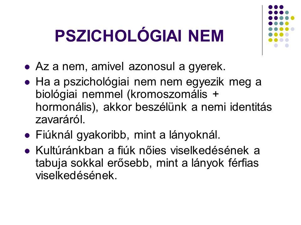 PSZICHOLÓGIAI NEM Az a nem, amivel azonosul a gyerek.