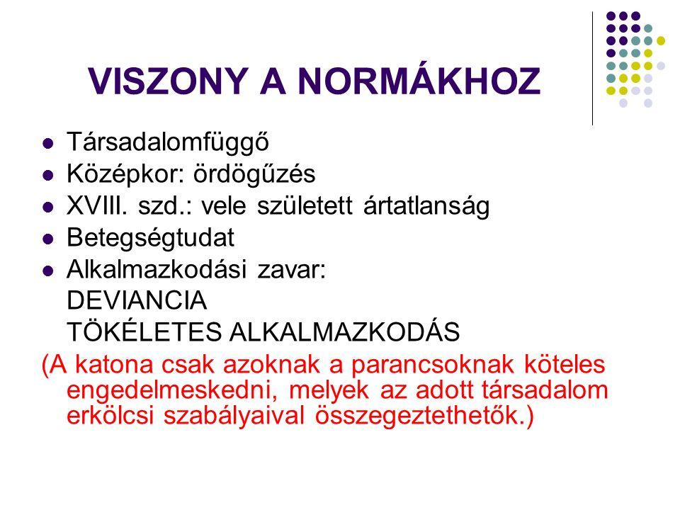 VISZONY A NORMÁKHOZ Társadalomfüggő Középkor: ördögűzés XVIII.
