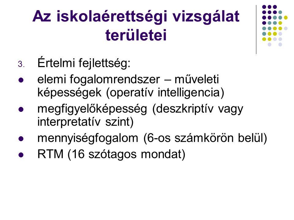 Az iskolaérettségi vizsgálat területei 3.