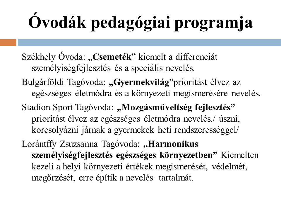 """Óvodák pedagógiai programja Székhely Óvoda: """"Csemeték kiemelt a differenciát személyiségfejlesztés és a speciális nevelés."""