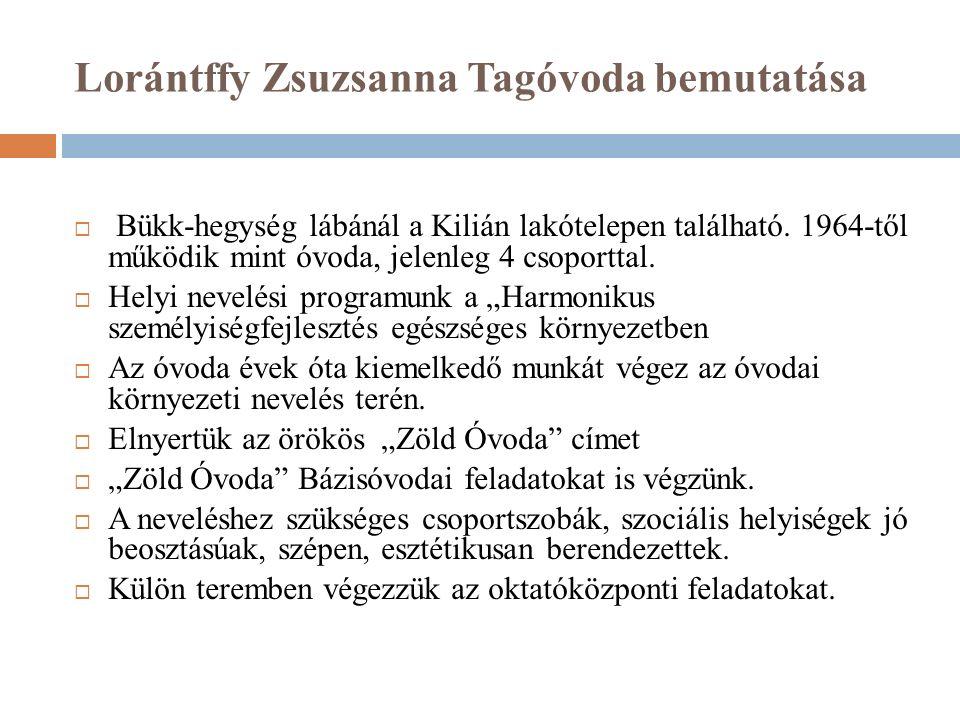 Lorántffy Zsuzsanna Tagóvoda bemutatása  Bükk-hegység lábánál a Kilián lakótelepen található.