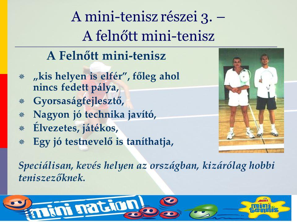 """evolve9 Mike Barrell Budapest October 2005 A Felnőtt mini-tenisz  """"kis helyen is elfér , főleg ahol nincs fedett pálya,  Gyorsaságfejlesztő,  Nagyon jó technika javító,  Élvezetes, játékos,  Egy jó testnevelő is taníthatja, A mini-tenisz részei 3."""