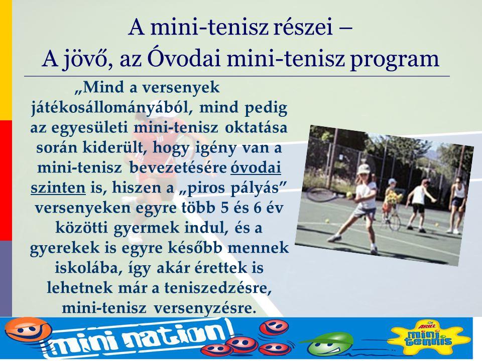 """evolve9 Mike Barrell Budapest October 2005 """"Mind a versenyek játékosállományából, mind pedig az egyesületi mini-tenisz oktatása során kiderült, hogy igény van a mini-tenisz bevezetésére óvodai szinten is, hiszen a """"piros pályás versenyeken egyre több 5 és 6 év közötti gyermek indul, és a gyerekek is egyre később mennek iskolába, így akár érettek is lehetnek már a teniszedzésre, mini-tenisz versenyzésre."""