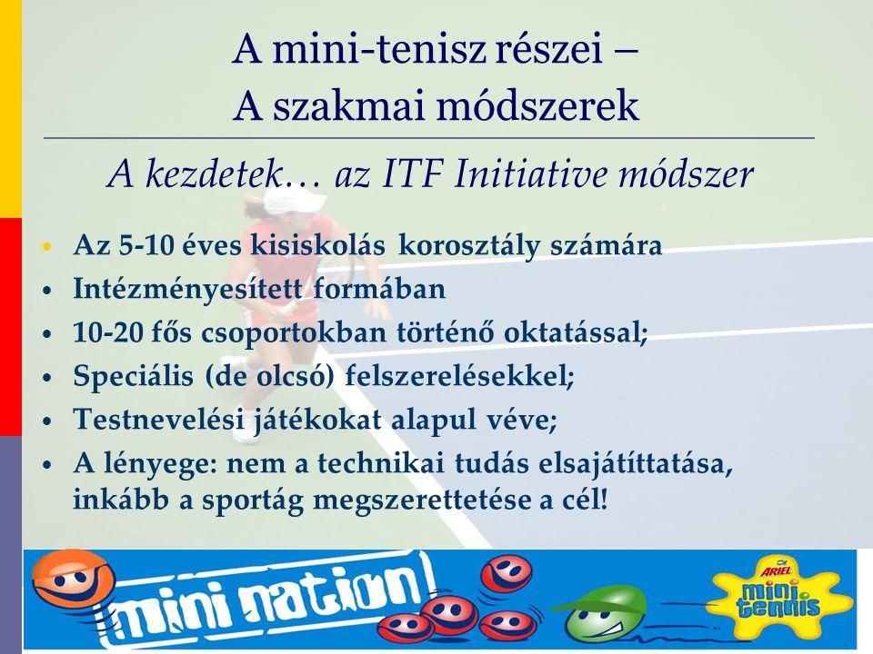 evolve9 Mike Barrell Budapest October 2005 A kezdetek… az ITF Initiative módszer Az 5-10 éves kisiskolás korosztály számára Intézményesített formában 10-20 fős csoportokban történő oktatással; Speciális (de olcsó) felszerelésekkel; Testnevelési játékokat alapul véve; A lényege: nem a technikai tudás elsajátíttatása, inkább a sportág megszerettetése a cél.