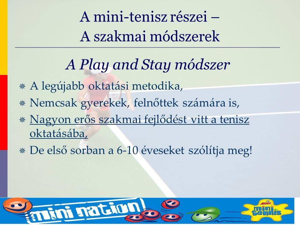 evolve9 Mike Barrell Budapest October 2005 A Play and Stay módszer  A legújabb oktatási metodika,  Nemcsak gyerekek, felnőttek számára is,  Nagyon erős szakmai fejlődést vitt a tenisz oktatásába,  De első sorban a 6-10 éveseket szólítja meg.